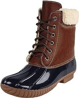 AXNY 女士 Dylan-3 双色系带人造羊绒衬里雨雪鸭靴