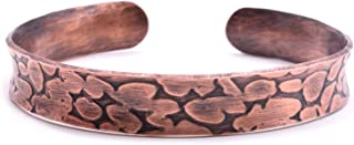 Origin 男士和女士铜质手链。 手工制作中性款卵石图案复古手镯