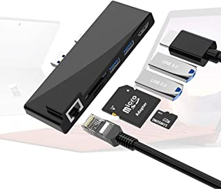 Surface Pro 6 Pro 5 Pro 4 扩展坞,Rocketek Microsoft Surface USB 3.0 集线器带 4K HDMI,2 个 USB 3.0 端口,SD/Micro SD 读卡器,1000M 外置端口组合扩...