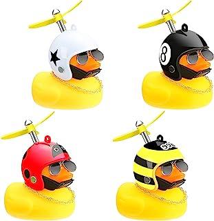 4 件橡胶黄鸭玩具汽车自行车饰品黄鸭汽车仪表板带螺旋桨头盔酷炫太阳镜装饰