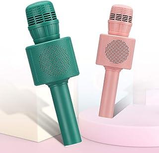 CYY 2 件装蓝牙无线卡拉 OK 麦克风,适合儿童或成人的玩具麦克风,便携式无绳卡拉 OK 扬声器,女孩和男孩,生日和节日礼物送给派对或户外活动