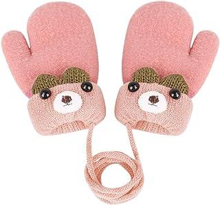 儿童幼儿冬季保暖针织手套毛绒衬里加厚保暖手套带绳户外手穿 0 至 4 岁