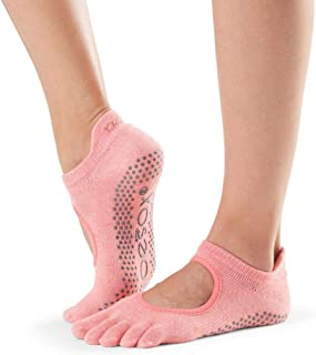 Toesox 女式 Toesox Grip Pilates Barre 袜子 – 防滑 Bellarina 半趾适用于瑜伽和芭蕾舞袜