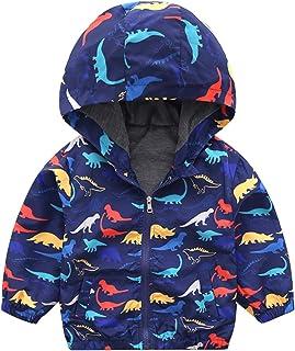 幼儿男孩恐龙夹克婴儿拉链连帽外套防风*外套