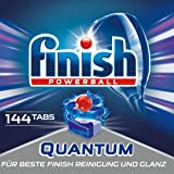 Finish Quantum 洗碗机洗涤块 无磷酸盐 带有强力凝胶的洗涤块,使餐具洁净光彩,3月用量,144片超值装