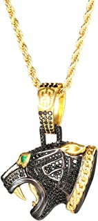 HELLOICE 冰黑豹头项链男式说唱歌手吊坠带免费链朋克嘻哈项链带礼品盒