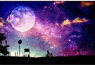 5D DIY 成人钻石绘画套装,全钻水晶水钻刺绣图片艺术工艺家居墙壁装饰,月亮星空自行车画 15.7 x 11.8 英寸(约 39.9 x 30 厘米)