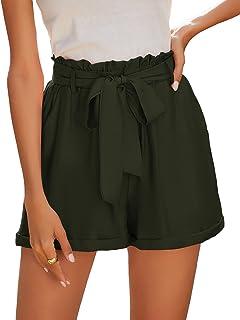 Milumia 女式纸包高腰短裤纯色带腰带工作办公室短裤带口袋