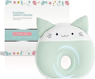 Flat Head 幼儿枕适用于 0-12 个月婴儿,*泡沫婴儿枕,适用于新生儿,防止扁平头,婴儿婴儿头部支撑枕(*猫)
