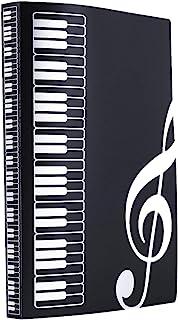 音乐主题文件夹 音乐文件夹 收纳夹 A4 大小文件夹 40 个口袋 高音谱号文件夹(黑色)