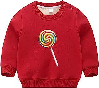 女童男童天鵝絨運動衫圓領冬季幼兒襯衫上衣 1-8T