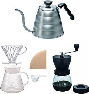 Hario V60 水壶、酿酒机套装和咖啡研磨机 - 三件产品全部出售