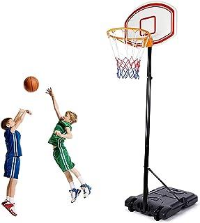 Amzdeal 便携式篮球篮筐,篮球系统高度可调节,适合儿童青年,篮球目标带篮球篮板,轮子,篮球网,适合室内室外使用