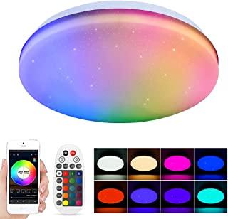 Geyueya 家用智能 LED 吸顶灯,可调光远程应用程序蓝牙天花灯,定时模式组控制 RGB 3000-6500K 色温吸顶灯,适用于客厅、卧室、厨房,28W