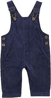 Goelsakurara 新生女婴男孩休闲灯芯绒整体纯色背带连衣裙背带裤带口袋秋冬服装