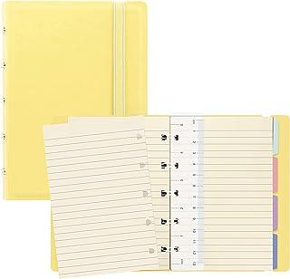 Filofax B115062U 可填充 粉彩色 笔记本 口袋大小 112 奶油色 可移动页 内含 4 个索引标签(一个带口袋)、页标和弹性封口、柠檬黄