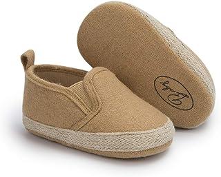 Meckior 婴儿女童男孩帆布鞋软底幼儿一脚蹬新生儿软帮休闲运动鞋奥斯汀男孩平底懒人乐福鞋*步滑板鞋 A07 / 卡其色 12-18 Months Toddler