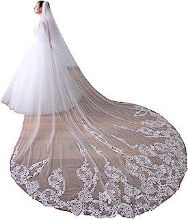 EllieHouse 女式 1 层大教堂蕾丝婚礼新娘面纱带金属梳 X55