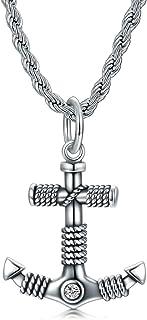 Cekama Anchor/Rudder 项链男士纯银哑光复古纹理氧化吊坠哥特式项链不锈钢绳链 60.96 厘米