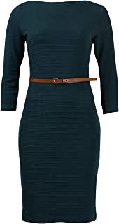 Sharagano 束带紧身弹力绉纱连衣裙加大码 16 青色