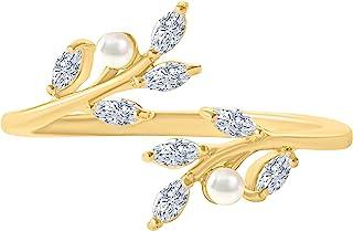 ONDAISY 仿珍珠 Cz 波西米亚花卉天使叶环绕可调节戒指