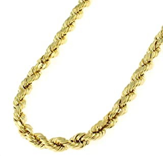 14K 纯黄金 3.2 毫米钻石切割绳链项链中性尺寸 40.64 厘米-76.2 厘米纯金 重量.