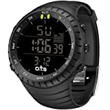 PALADA 男式运动数字腕表全黑色电子多功能防水军事手表