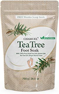 Chamuel 茶树油*浸泡 - 天然足浴盐与死海和泻盐,生姜和精油 - 舒缓刺激,运动员脚,脚臭,老茧和*脚酸痛(26.5盎司)