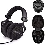 Beyerdynamic 拜亚动力 DT PRO 头戴式耳机(忍者黑,限量版)带 Knox Gear 硬壳耳机套(2 件…