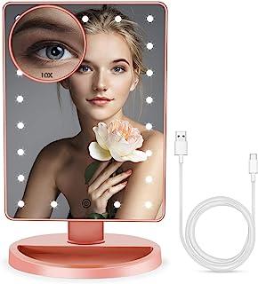 BUENOLIFE 带灯化妆镜,化妆镜带 21 个 LED 化妆镜,可调节,双电源操作,桌面镜触摸屏,可拆卸 10 倍放大 - 玫瑰金