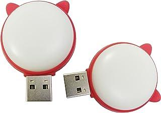 Meiyangjx USB LED 灯露营夜灯,迷你便携式钥匙扣灯,适用于移动电源 PC 笔记本电脑(2 件装-暖猫和和白色)