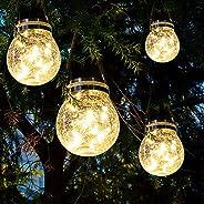 太阳能灯笼户外花园灯防水 30 个 LED 悬挂玻璃灯太阳能仙子灯 露台花园庭院桌面草坪路径 4 件装