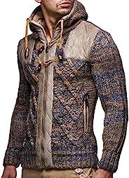 LEIF NELSON LN20525 男士针织拉链夹克几何图案和皮革装饰;尺码 US XXL,棕色