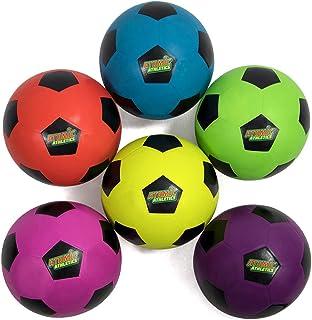 Atomic Athletics 6 只装霓虹橡胶操场足球 - 常规尺寸 5,8.5 英寸的球,带气泵和网状存储袋 K-Roo Sports 出品