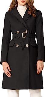 Allegra K 女式双排扣 V 形领束带披肩领翻领外套