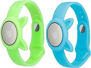 2 件装 AirTags 夜光软硅胶表带,夜光*和 GPS 儿童防丢失,防刮保护,用于定位 Airtag 追踪腕带,携带方便,荧光蓝色 + *