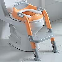 如厕训练座椅 男孩女孩 幼儿如厕训练马桶坐垫,儿童马桶坐便椅带阶梯凳(灰色/橙色)