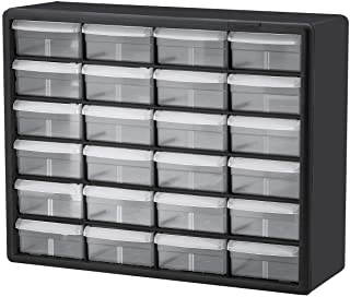 Akro-Mils 10724 24-Drawer Plastic Parts Storage Hardware and Craft Cabinet, 20-Inch by 16-Inch by 6-1/2-Inch, Black/Grey