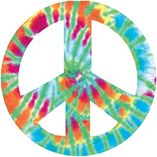 "Paper House Productions 8.89cm 模切嬉皮士爱磁铁适用于汽车、冰箱和储物柜 Tie-dye Peace Sign 3""H x 3""W MCAR-2002E"