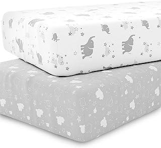 婴儿床床单套装 中性款 - 通用婴儿床床单,适用于标准婴儿或幼儿床垫 - 2 件装 - 白色床单 - 针织棉 - 超柔软,适合婴儿大象、星星、云朵