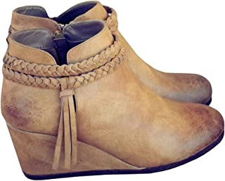 Fashare 女式编织流苏装饰踝带坡跟靴西部高跟靴