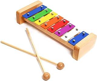 专业经典木制钟琴木琴,带 8 个金属钥匙,适合成人和儿童使用 - 包括 2 个木制搅拌棒