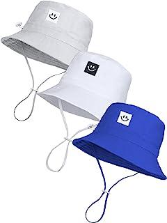 3 件婴儿太阳帽微笑脸幼儿夏季*渔夫帽儿童宽边沙滩帽适合女婴男孩可调节帽子