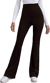 WDIRARA 女式弹性高腰喇叭腿休闲罗纹针织长裤