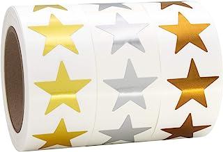 2.54 厘米金属金色、银色和青铜星星形状铝箔贴纸标签,每卷 500 个标签,3 卷,1 英寸