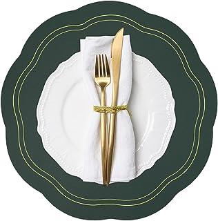 *餐垫 4 件套,圆形仿皮垫室内,庭院桌夏季户外餐垫,可水洗可擦拭餐桌垫适用于 7 月 4 日感恩节圣诞节派对家居装饰