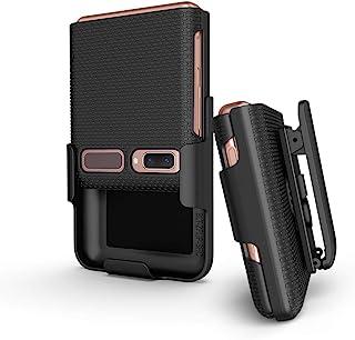 Galaxy Z 翻盖手机壳带夹,BELTRON 搭扣式保护壳,带旋转皮带皮套组合,内置支架,适用于三星 Galaxy Z Flip Phone (SM-F700) - 黑色