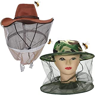 Qingsi 2 件/套养蜂帽迷彩养蜂人牛仔蜂网面纱全脸颈部覆盖养蜂人帽带防蜜蜂网户外养蜂人用品