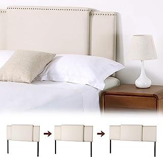 KOTPOP 亚麻床头板,可调节尺寸 3 合 1 软垫矩形床头板,现代透气面料带钉头,适合单人床 / 中号双人床/大号双人床可选高度从 37 英寸到 49 英寸,米色