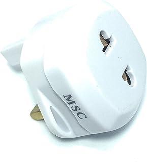 MSC - 剃须刀 2 针 UK 3 插头转换器适配器插头白色01011 1 Pack